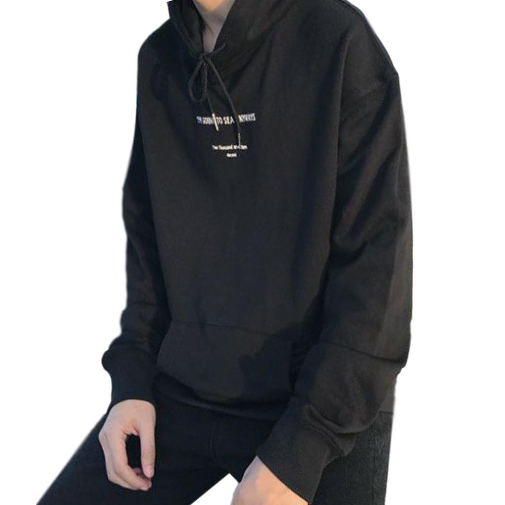 Couples Long-sleeved Hoodies Letter Print Loose brushed Fleece Hooded Long Sleeve Top Black _L
