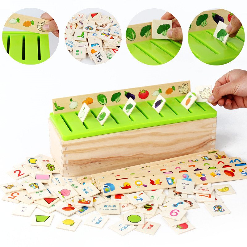 Wooden Shape Matching Classification Box Children Early Education Puzzle Digital Fruit Chinese Character Cognitive Toys Ohye-knowledge classification box