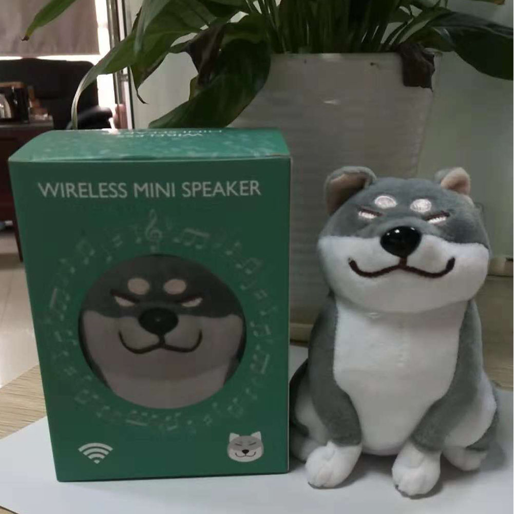 Cute Cartoon Plush Dog Wireless Bluetooth Speaker Stereo Super Bass Subwoofer Home Decoration Christmas Gifts gray