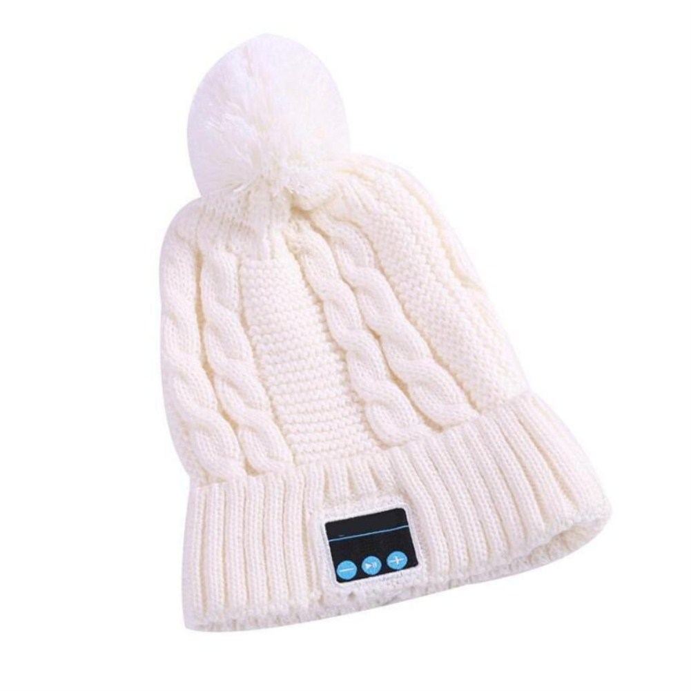 V5.0 Knitted Hat with Ball Wireless Call Music Stereo Sound Bluetooth Hat white