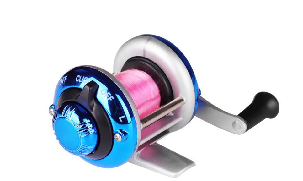 Mini Metal Bait Casting Spinning Reel Ice Fishing Reel Fish Water Wheel Baitcast Roller Ice fishing wheel- blue
