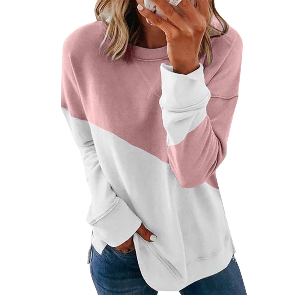 Women's Hoodie Autumn Casual Crew-neck Contrast Stitching Loose Hooded Sweater Pink_L