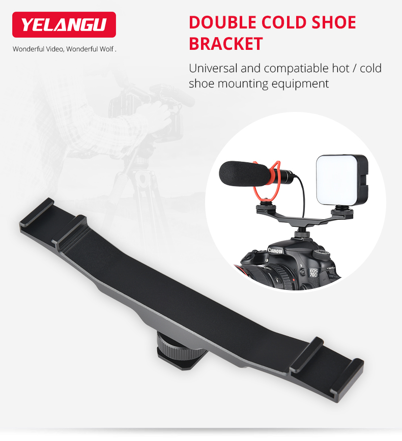 Expansion Double Cold Boot Mouth Rod Bracket for Camera Flash Light black