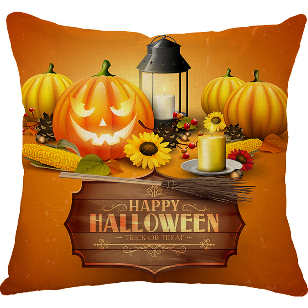Halloween Series Printing Linen Cotton Throw Pillow Cover for Office Car 32#_45*45cm