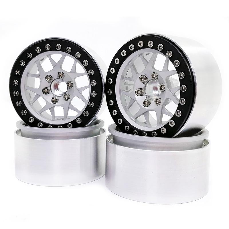 4PCS Aluminum 2.2 Beadlock Wheel Rims for1/10 RC Rock Crawler Axial SCX10 RR10 Wraith 90048 90018 Traxxas TRX4 TRX-6 Silver inner ring