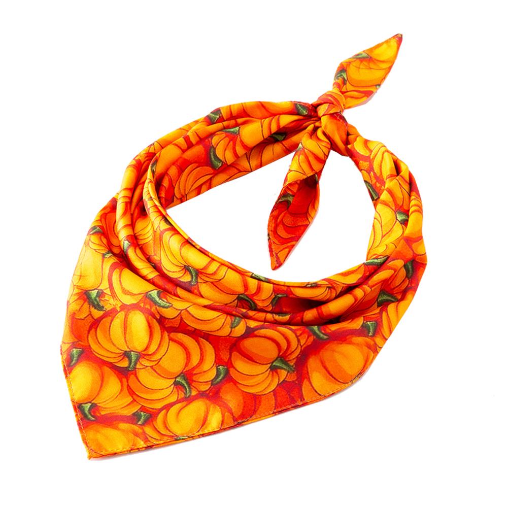 Halloween Series Printing Triangular Scarf for Pet Dogs Wear 01 large yellow pumpkin