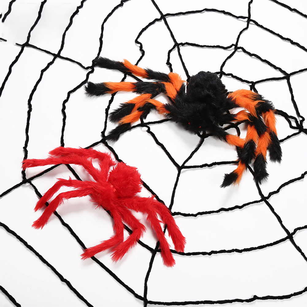 Halloween Props Large Simulation Spider & Spider Web Plush Bar Decoration Spoof Toys 30cm colorful spider 25g