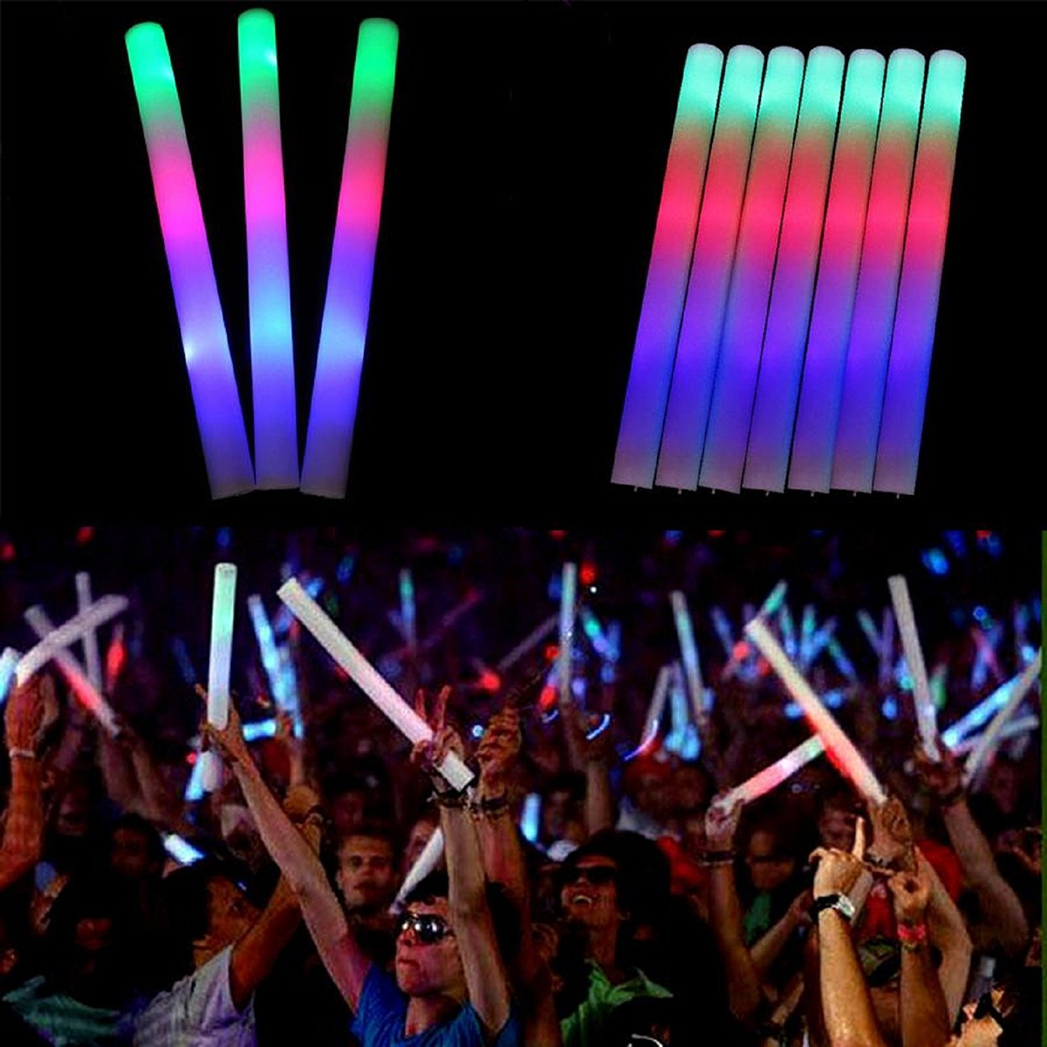 15PCS LED Colorful Flashing Foam Glow Stick Sponge Pretty Light Stick for Party Concert Halloween Wedding Christmas