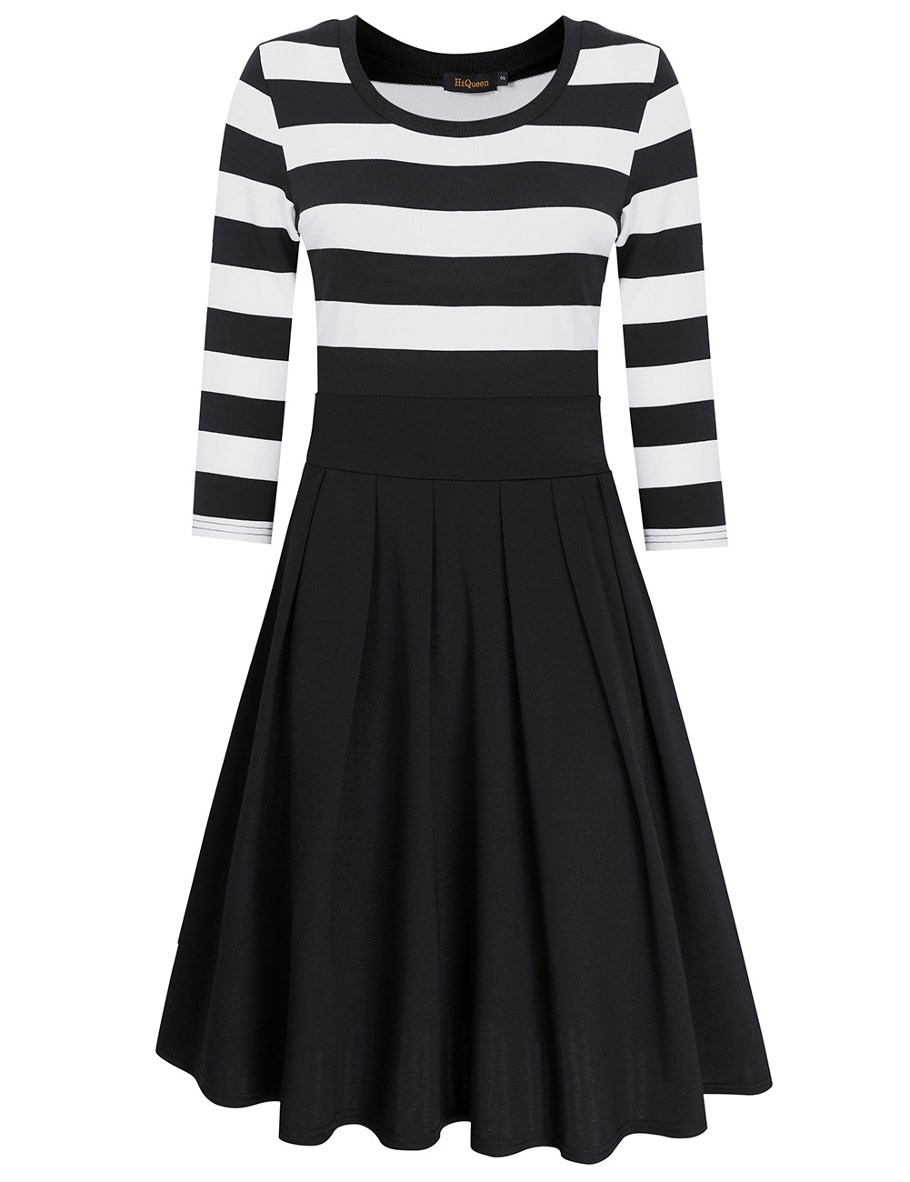 HiQueen Women Casual Scoop Neck 3/4 Sleeve A-Line Swing Dress Stripe Modest Dresses Black_M