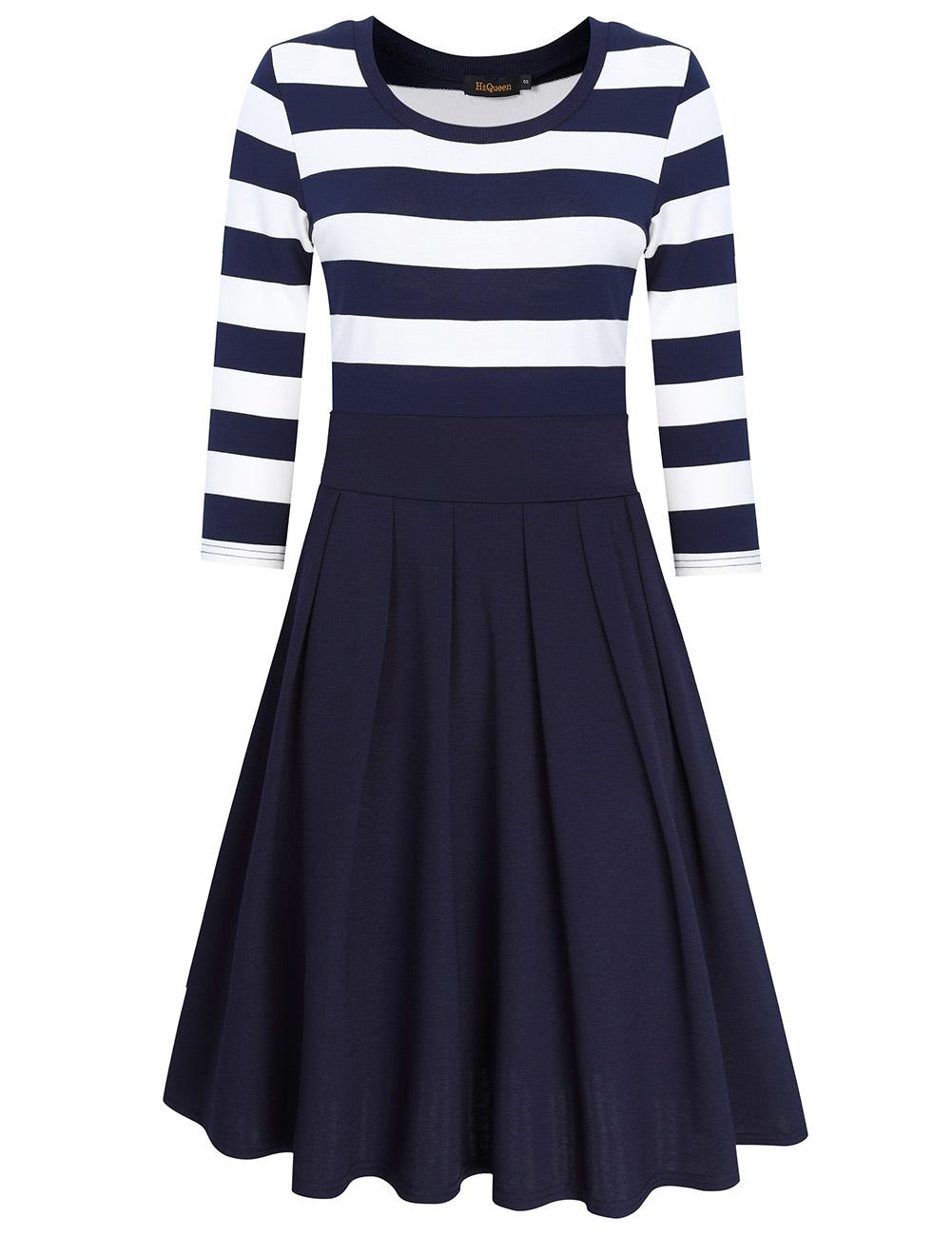 HiQueen Women Casual Scoop Neck 3/4 Sleeve A-Line Swing Dress Stripe Modest Dresses Dark blue_M