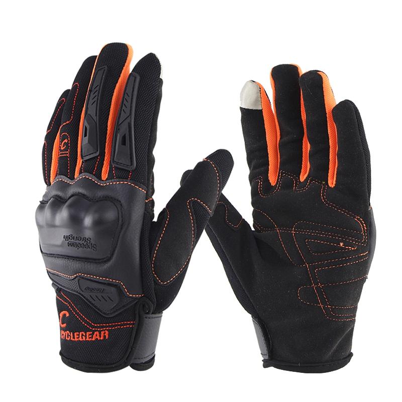 Motorcycle Gloves Anti-skid Shockproof Cycling Motocross Safet Gloves Gants Orange_L