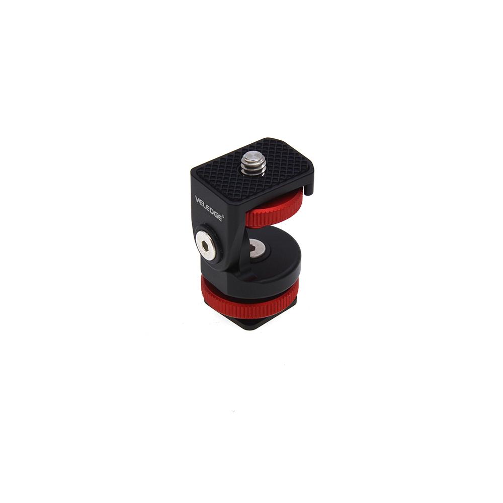 Mini Hot Shoe Adjustable Mount Holder on-Camera Monitor Bracket Stand 1/4'' Screw for Video Camera Monitor Fill Light Flash black