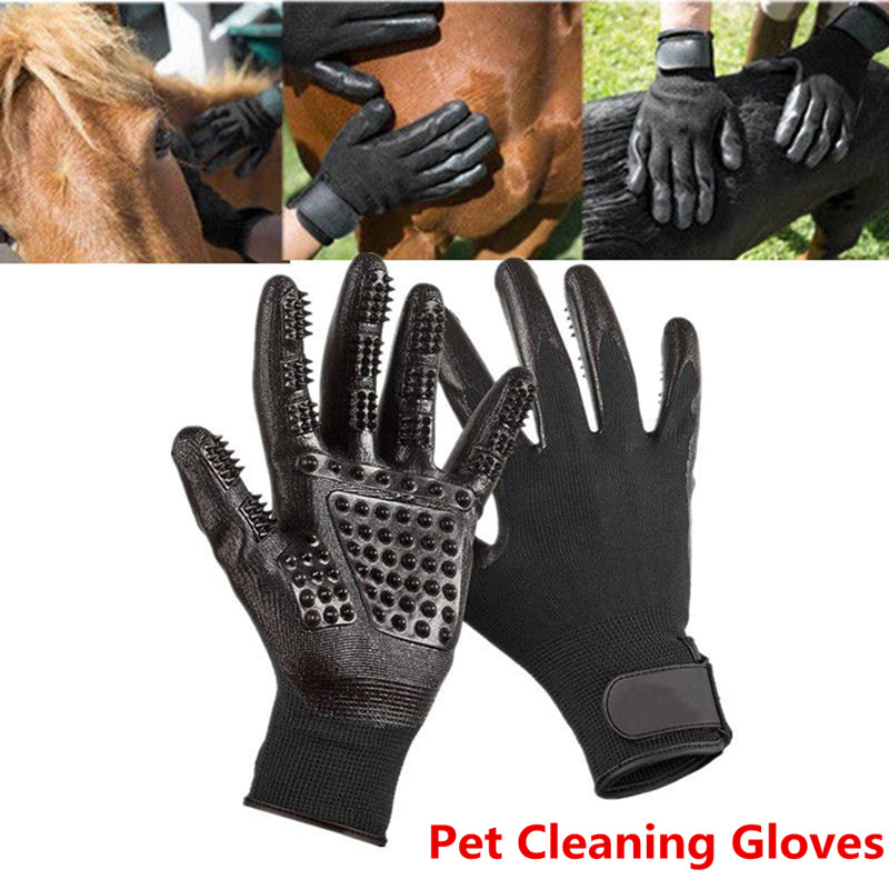 Pet Dog Cat Cleaning Gloves Bathing Mittens Loose Hair Remover Massager