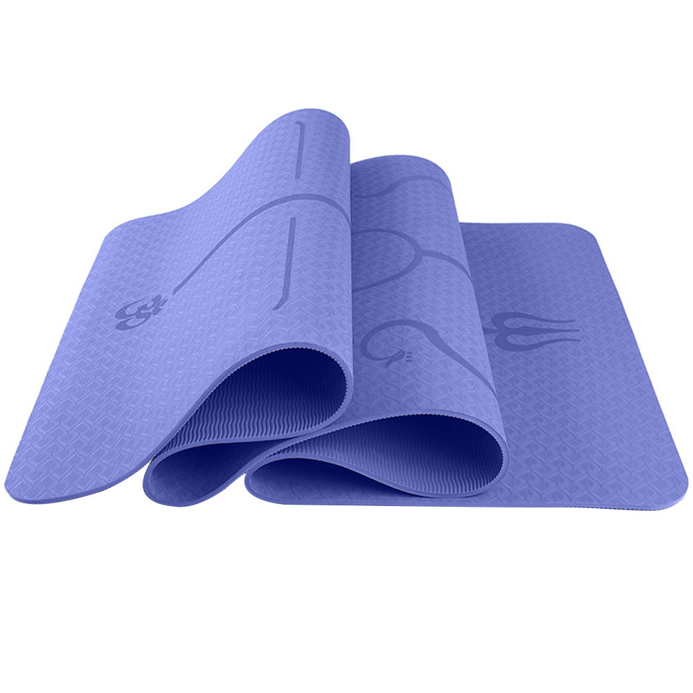 6mm Multi-functional Environmental Protection Yoga Pad TPE Yoga Mat Fitness Pad Body Line Style Violet_183*61*0.6 body position line