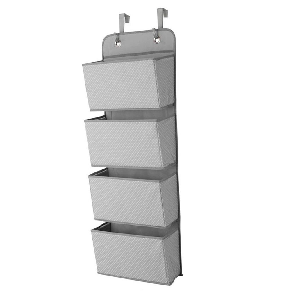 Non Woven Storage Bag Hanging Closet Organizer for Wardrobe Door Clothes Storage Shoes Organiser  gray