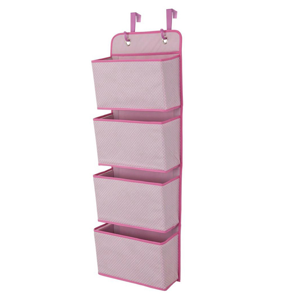 Non Woven Storage Bag Hanging Closet Organizer for Wardrobe Door Clothes Storage Shoes Organiser  Pink