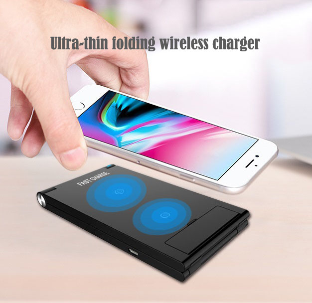 7.5W/10W Wireless Charger Stand for iPhone/Android Cellphone Fast and Safe Charging Dock Portable Travel Holder black