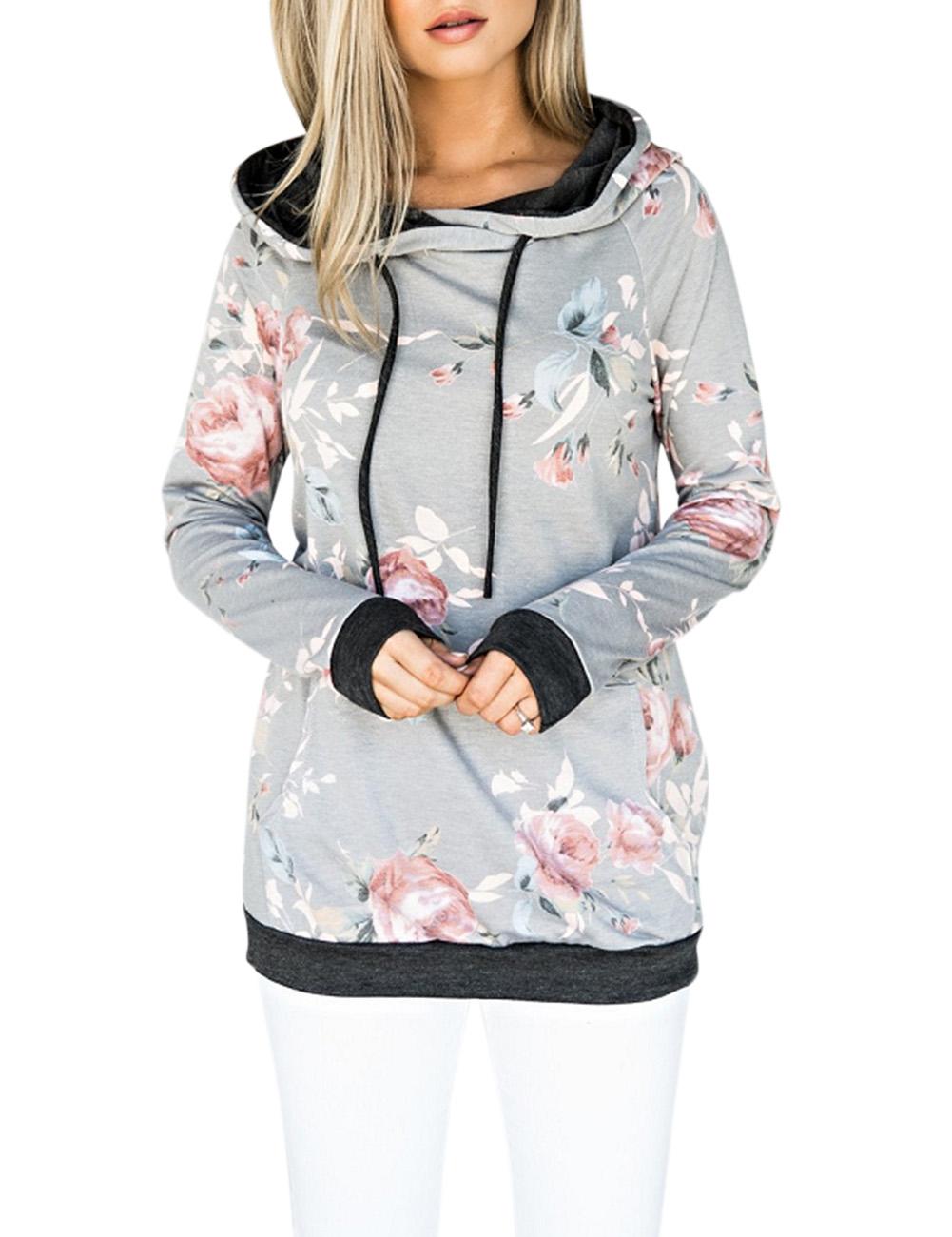 Women Elegant Chic Flower Printing Sweatshirt Hooded Long Sleeve Tops