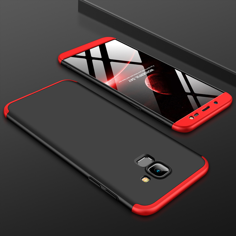 For Samsung J6 2018/on 6 Ultra Slim 360 Degree Non-slip Shockproof Full Protective Case Red black red