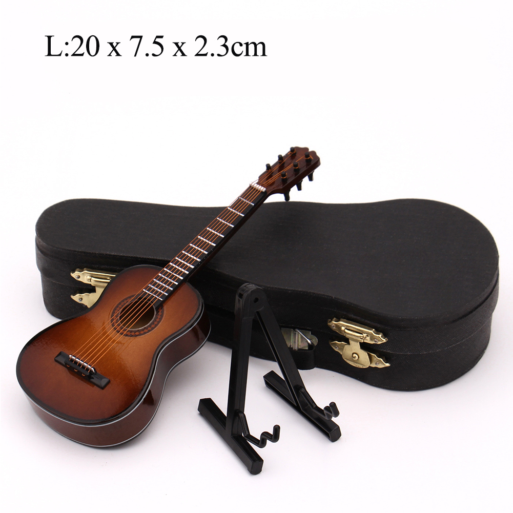 Mini Guitar Miniature Model Wooden Mini Musical Instrument Model  L: 20CM_Classical guitar brown