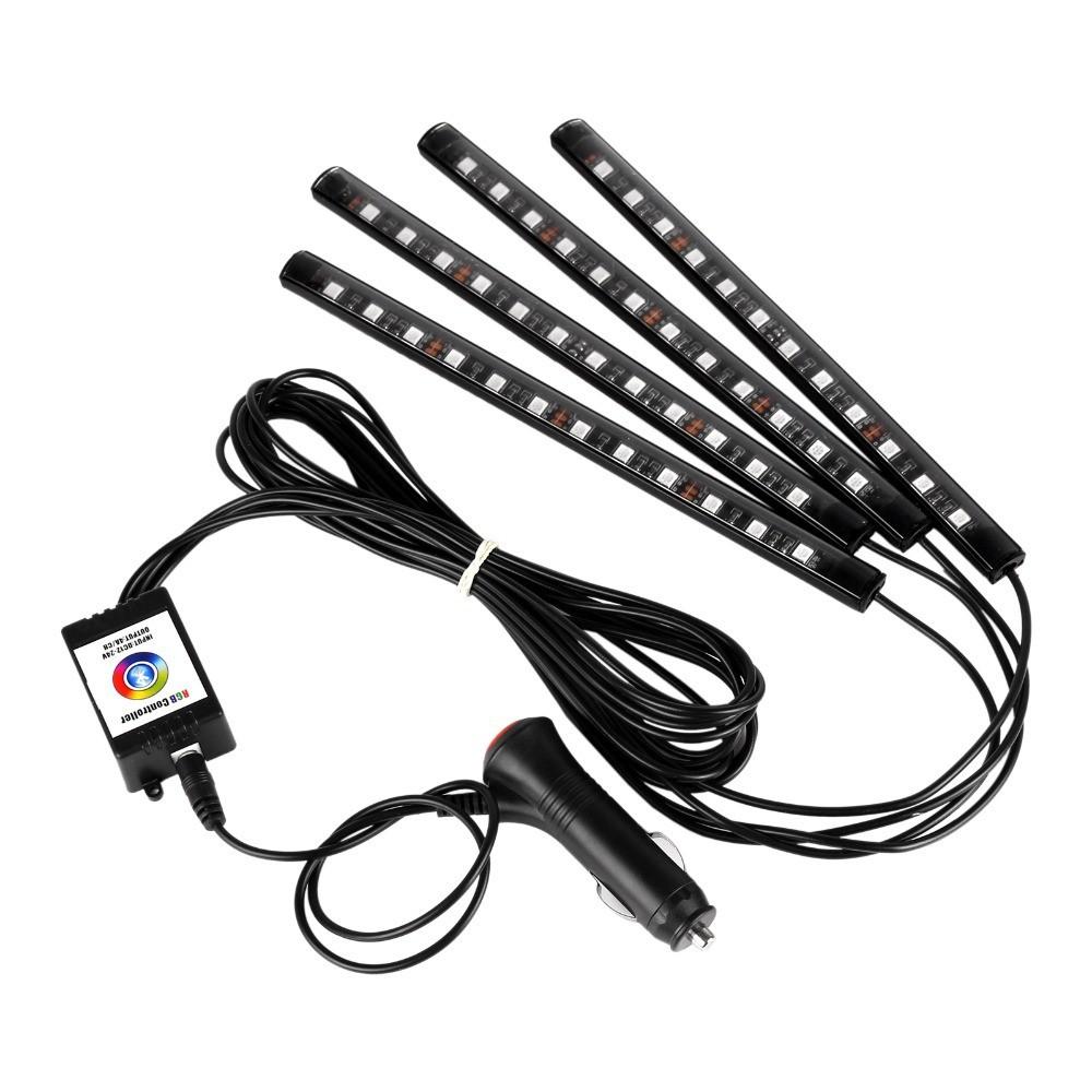 Car Interior Lights Car LED Strip Light 48 LED App Controller Waterproof DIY Color Music Under Dash Car Lighting Kits 12 lights mobile APP control