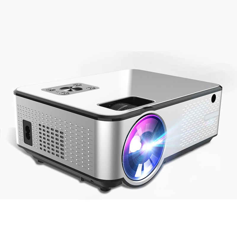 C9UP Android Projector 1280*720P Support 4K Videos Via HDMI Home Cinema Movie Video Projector Silver black_European regulations