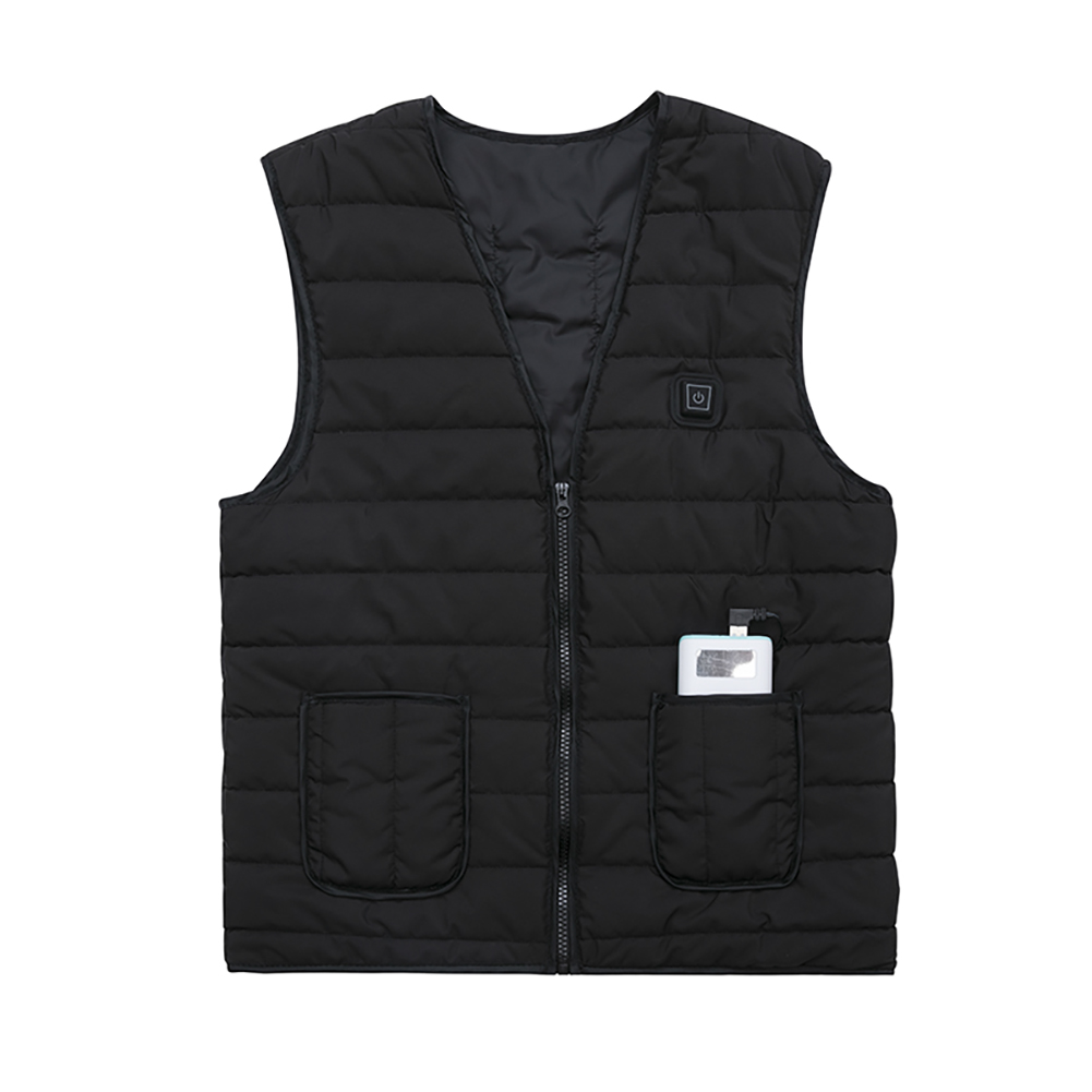 Men Women Outdoor USB Infrared Heating Vest Flexible Electric Thermal Winter Warm Jacket Clothing For Sports Hiking Riding black_S