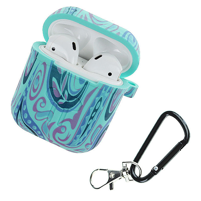 Camouflage Silicone Shockproof Protector Cover Case Carabiner for Airpods Case i10 i12 TWS Bluetooth Luminous Protector Water duck color whirlwind