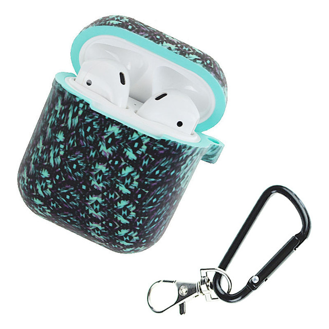 Camouflage Silicone Shockproof Protector Cover Case Carabiner for Airpods Case i10 i12 TWS Bluetooth Luminous Protector Water duck black diamond