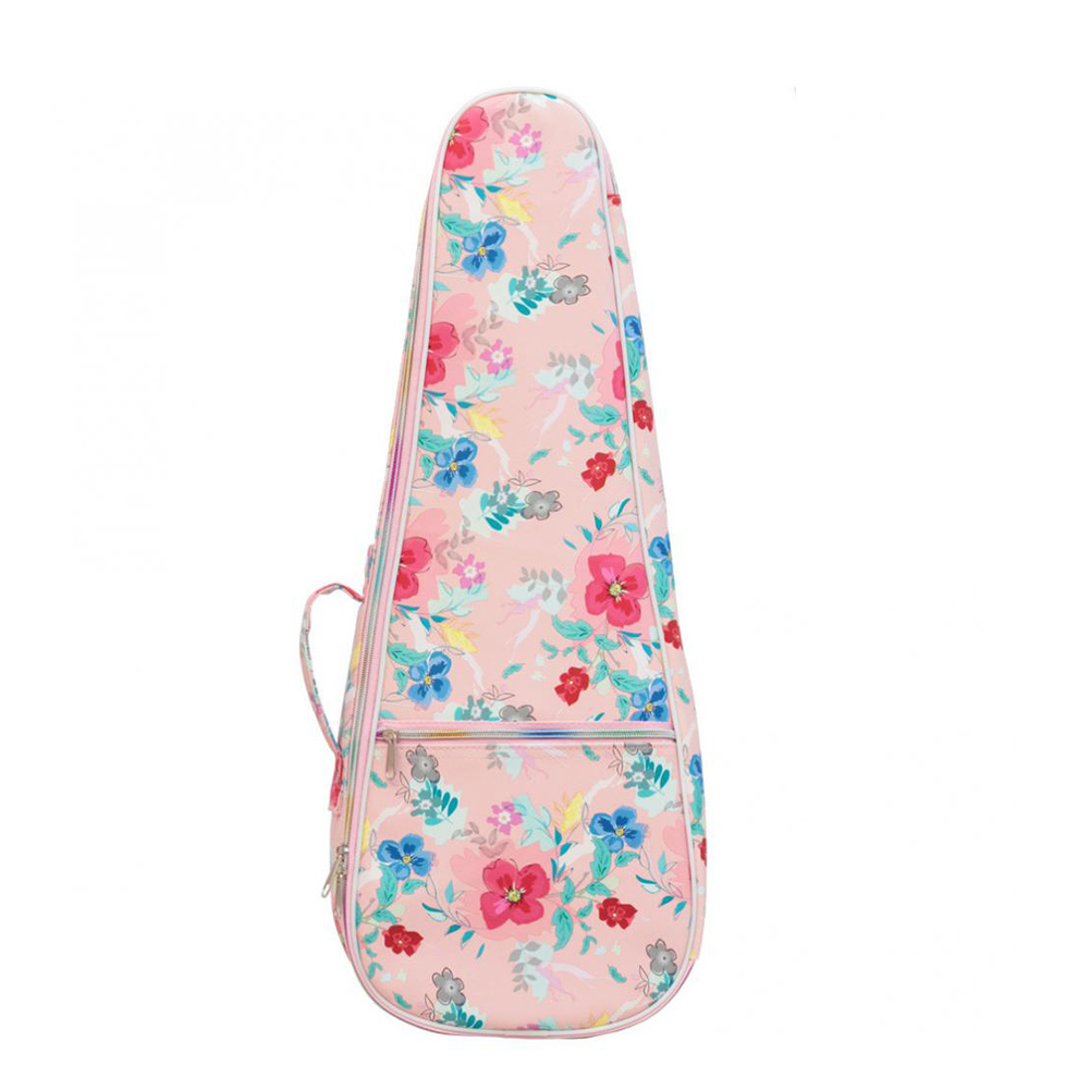 Printed Leather Ukulele Bag Cotton Soft Case Waterproof Backpack 21 inches
