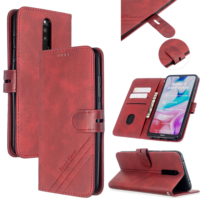 For Redmi Note 8T/Redmi 8/Redmi 8A Case Soft Leather Cover with Denim Texture Precise Cutouts Wallet Design Buckle Closure Smartphone Shell  red