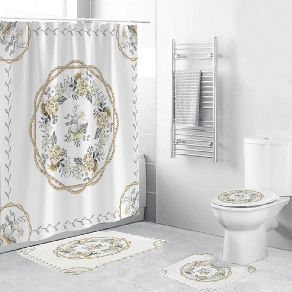 Shower  Curtain 180*180cm With Non-slip  Rug Toilet  Lid  Cover Bath  Mat For Bathroom yul-2156-flower