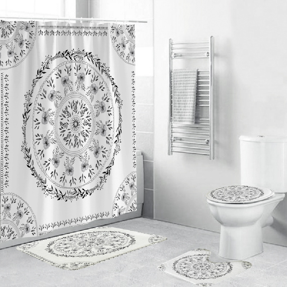 Shower  Curtain 180*180cm With Non-slip  Rug Toilet  Lid  Cover Bath  Mat For Bathroom yul-2153-Black and white flowers
