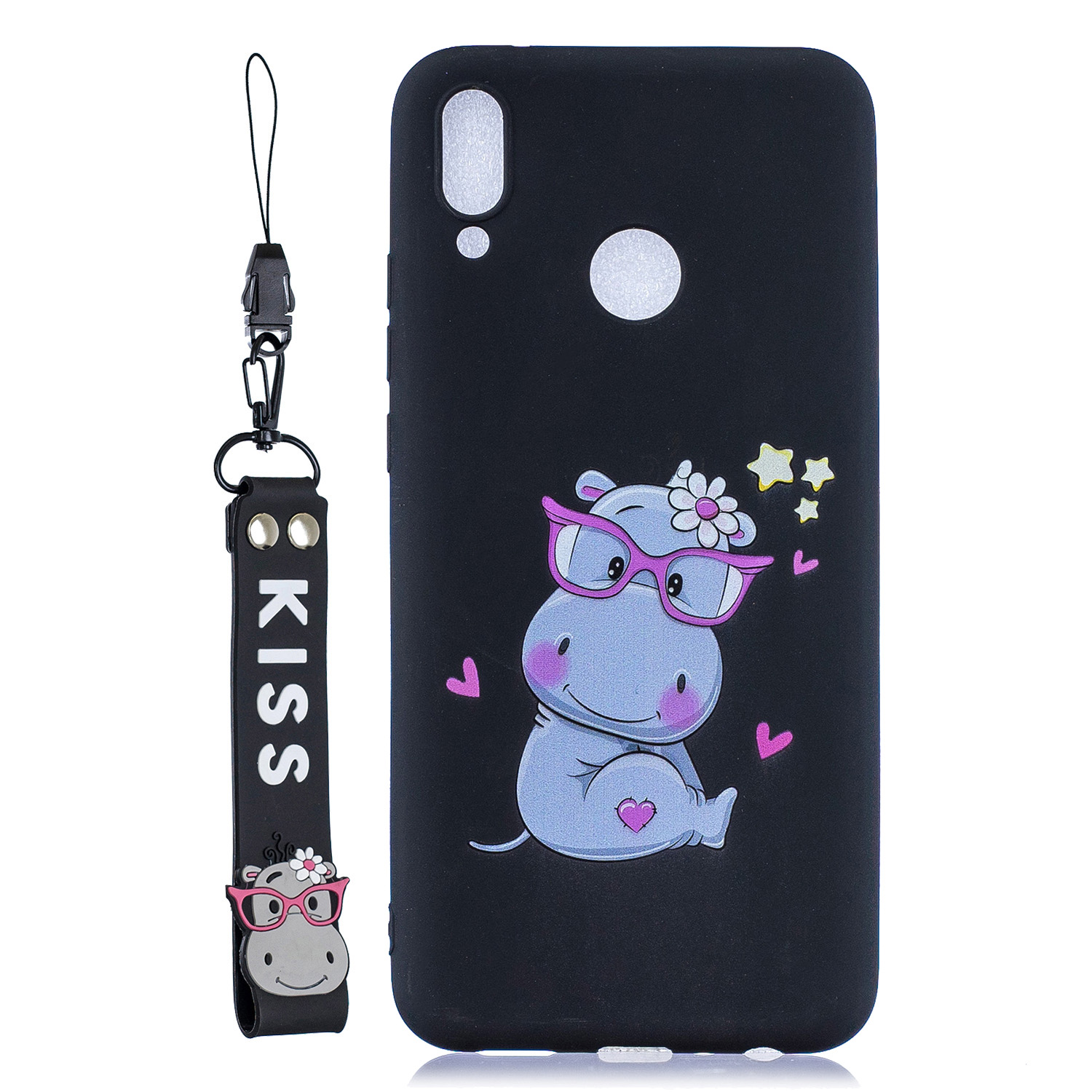 For HUAWEI Y9 2019 Cartoon Lovely Coloured Painted Soft TPU Back Cover Non-slip Shockproof Full Protective Case with Lanyard black