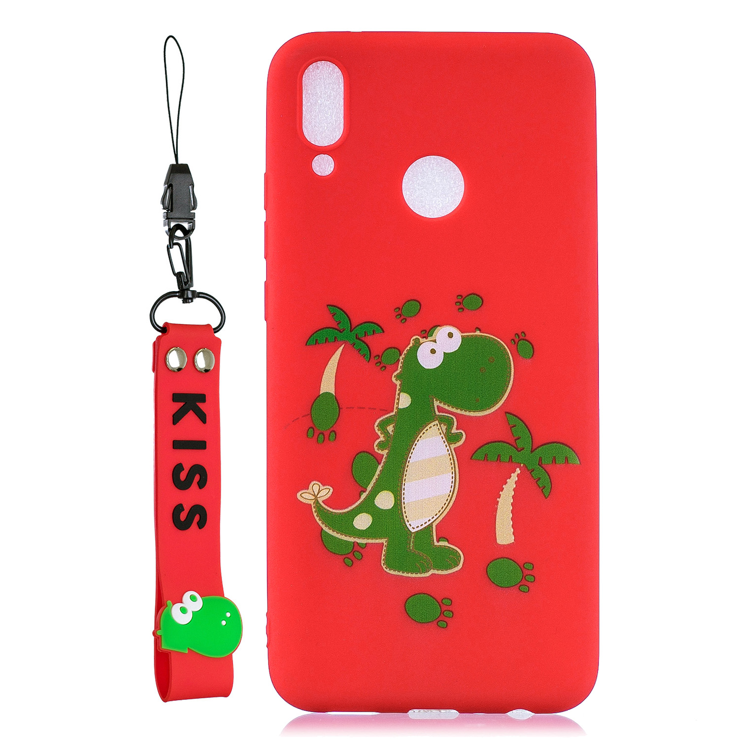 For HUAWEI Y9 2019 Cartoon Lovely Coloured Painted Soft TPU Back Cover Non-slip Shockproof Full Protective Case with Lanyard red