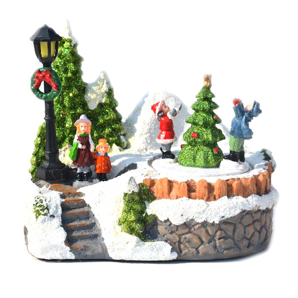 Christmas  Ornaments Luminous Music Small House Led Colorful Lights Resin Christmas Handicraft Decorations Luminous little house Christmas tree