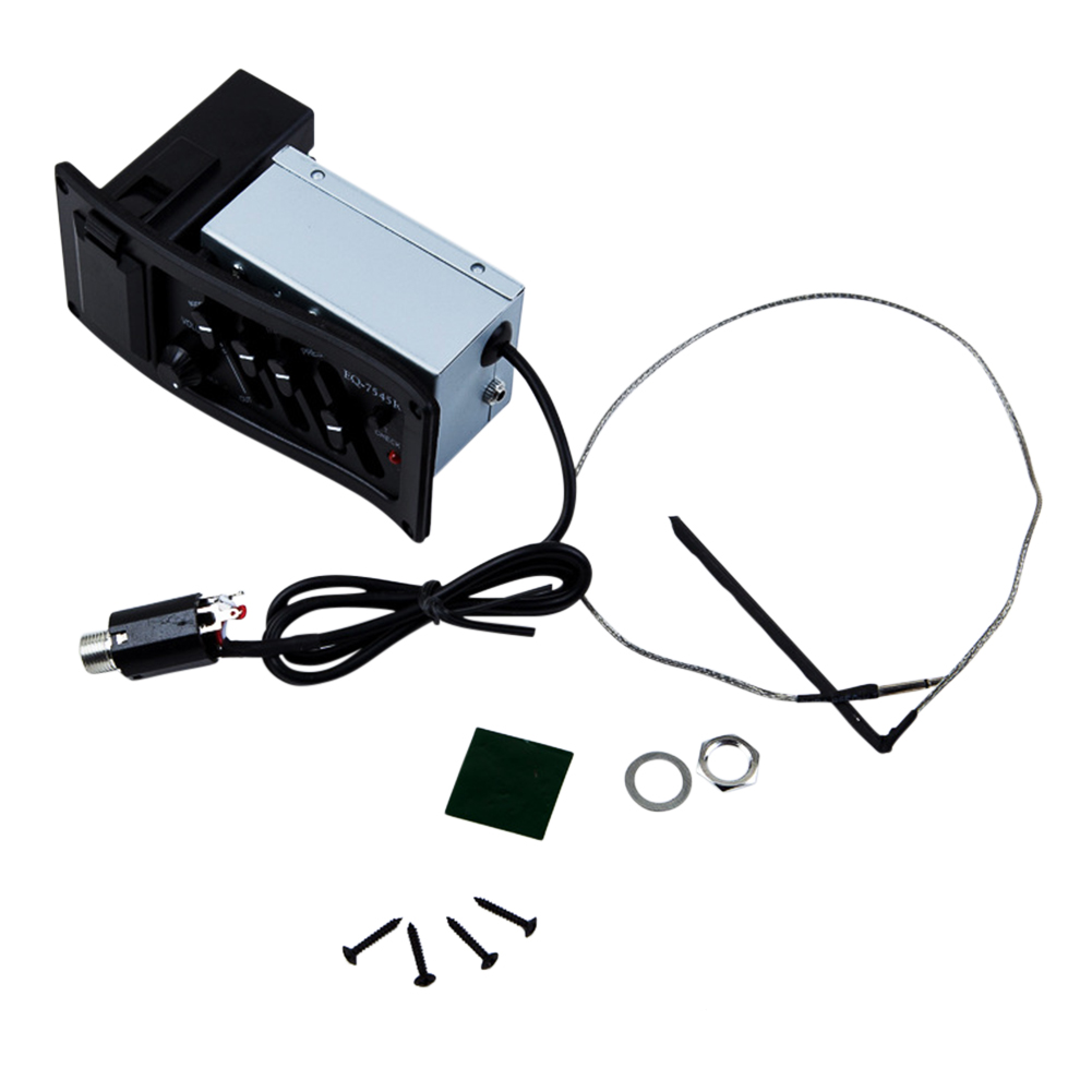 Classic 4 Band Acoustic Guitar Pickup Pre-amp 1/4' Output Pick-up Equalizer  EQ-7545R