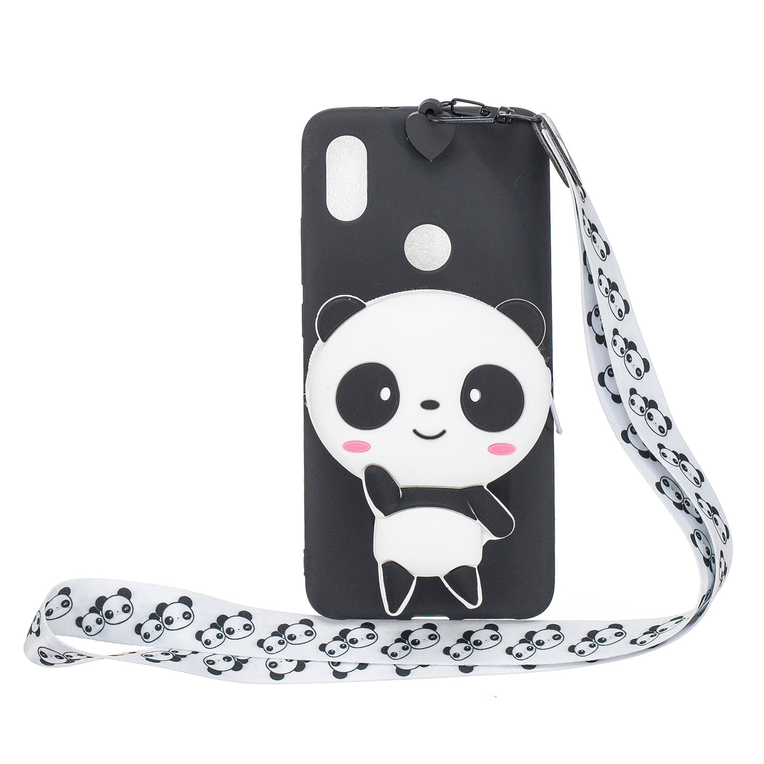 For HUAWEI Y6 2019 Y7 2019 Y9 2019 Cartoon Full Protective TPU Mobile Phone Cover with Mini Coin Purse+Cartoon Hanging Lanyard 4 black pandas