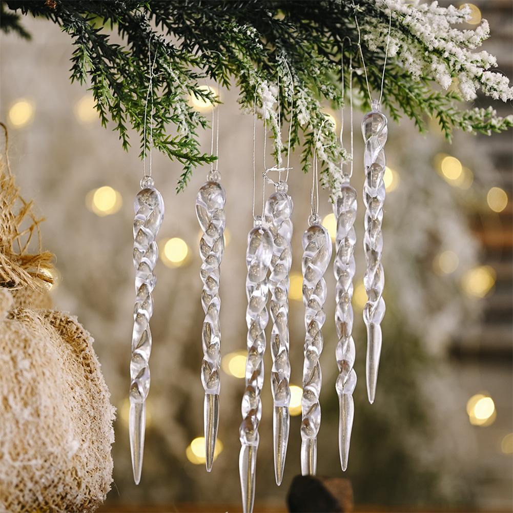 Christmas Decorations Icicle Pendant Christmas Tree Decoration Transparent_12pcs
