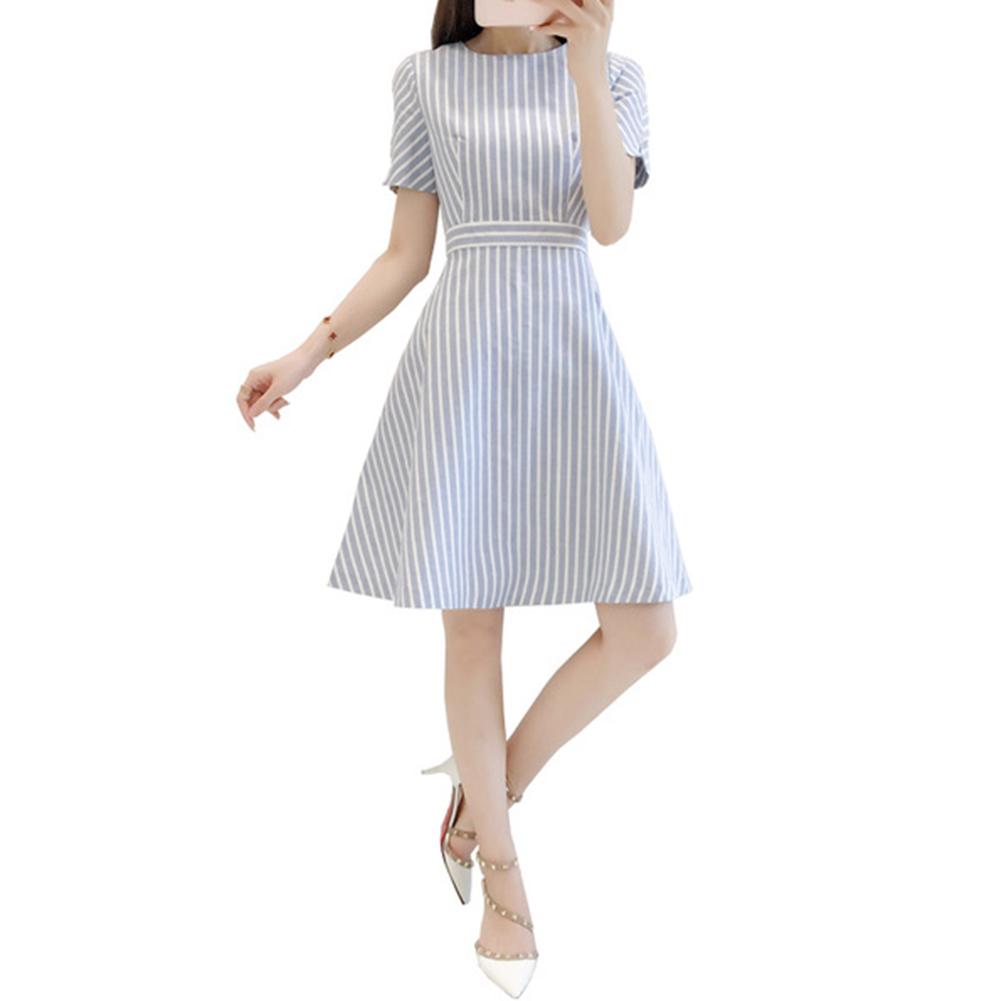 Women Fashion Elegant Round Neck Short Sleeve Stripe A-line Dress Photo Color_M