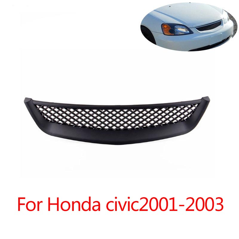 Professional for 01-03 Honda Civic 01-03 Black ABS Intake Air Grille Cover Guard black