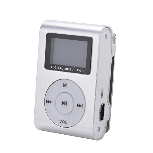 Silver Mini MP3 Player Clip USB FM Radio LCD Screen Support for 32GB Micro SD