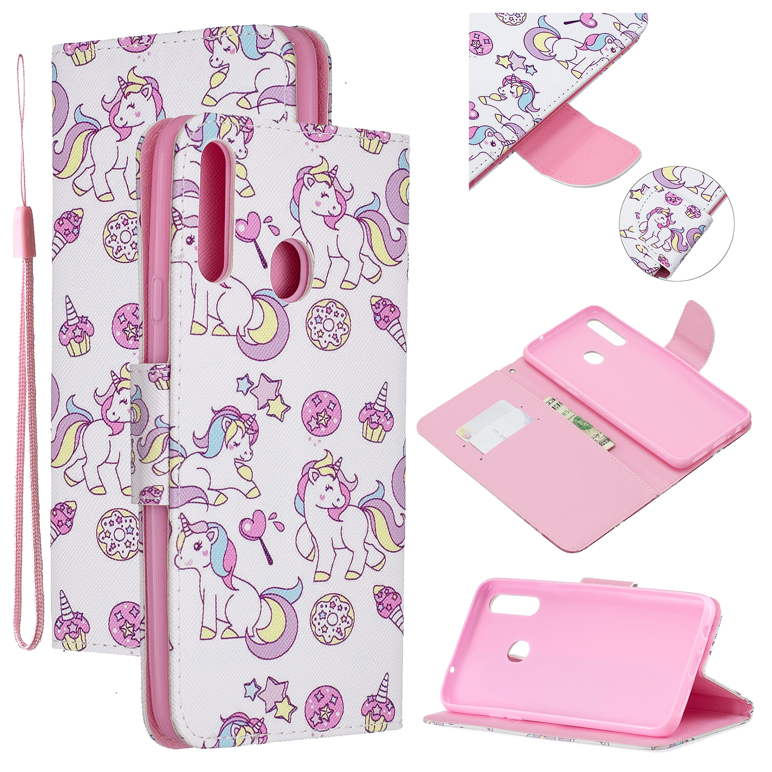 For Samsung A10S/A20S Smartphone Case PU Leather Phone Shell Lovely Cartoon Pattern Card Slots Overall Protection Ice cream unicorn