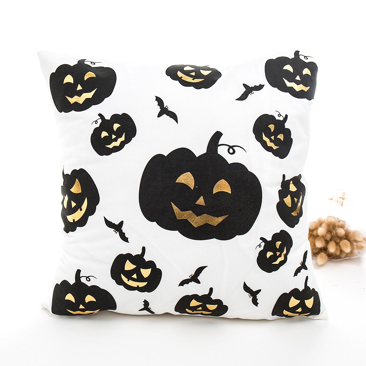 Halloween Series Hot Stamping Pattern Throw Pillow Cover Pumpkin white bottom_45*45cm