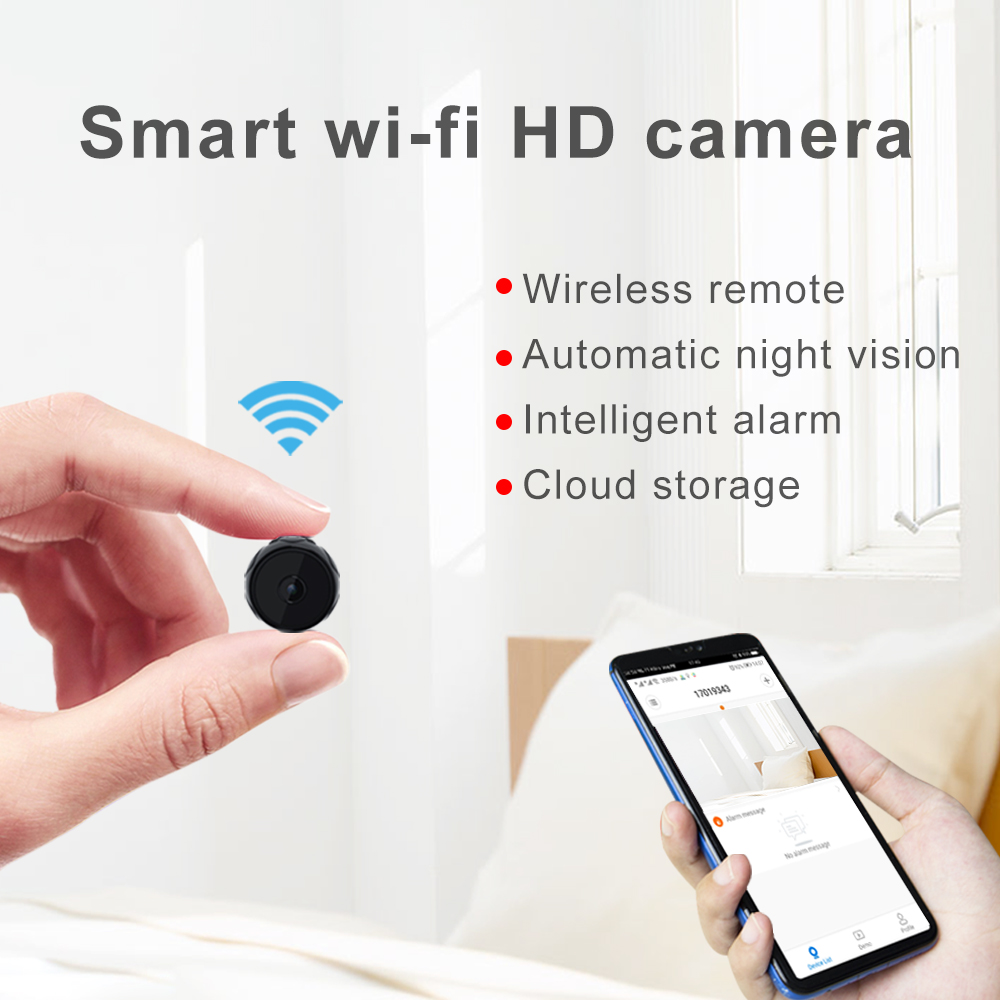 Wireless Mini Smart IR Night Vision Micro Camera Home Security Monitor Support 128G SD black