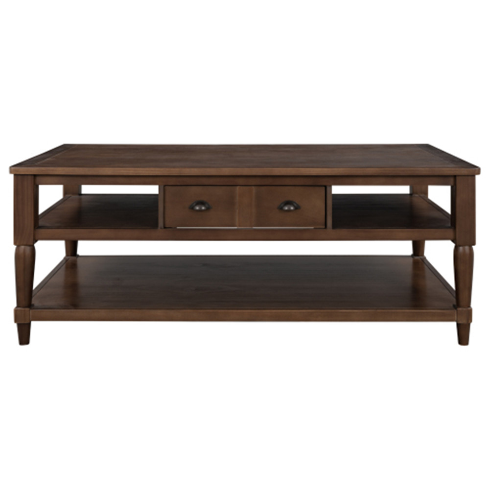 [US Direct] Pine+MDF U-shaped Modern Coffee Table With 1 Drawer 1 Shelf With Metal Knobs brown