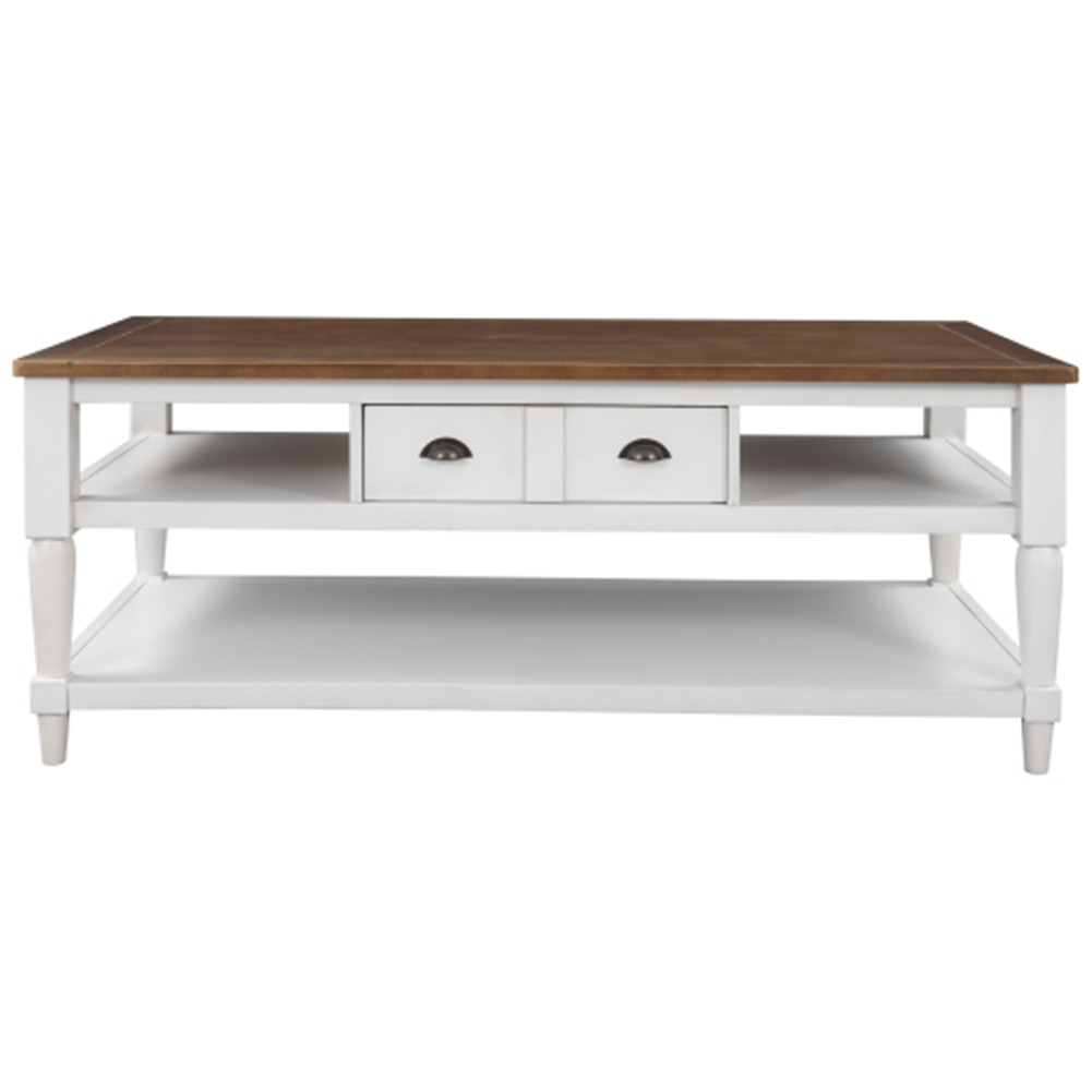 [US Direct] Pine+mdf U-shaped Modern Coffee Table With 1 Drawer 1 Shelf With Metal Knobs White+brown