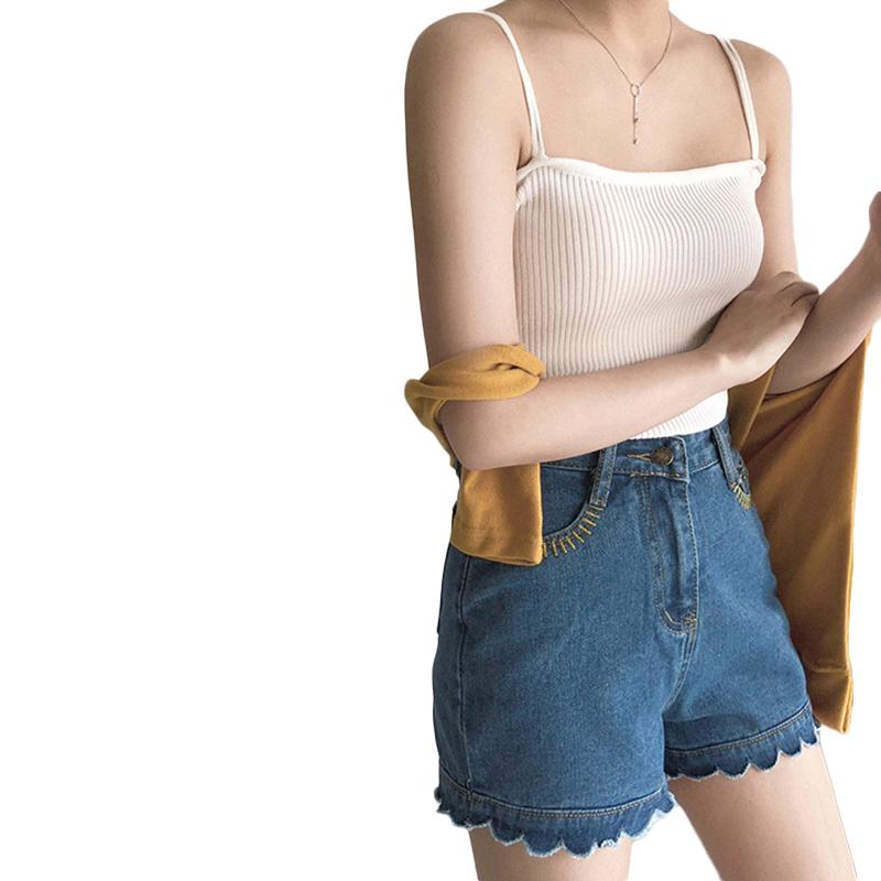 Women's Vest Spring Summer Knitted Camisole Slim Solid Color Bottom Vest white_free size