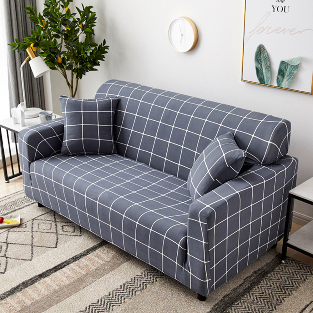 Stretch Slipcover Elastic Stretch Sofa Cover with Pillowcase for Living Room Couch Cover Four persons (applicable to 235-300cm)