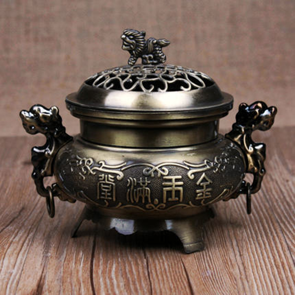 Retro Style Alloy Incense Burner Double Dragon Hollow Cover Censer Cone Holder Home Decoration bronze color